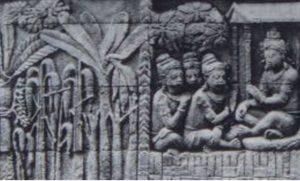 Relief kebun pada Relief Cerita Karmawibhangga seri O, no. 123, pada kaki Candi Borobudur. (Sumber: Rep: van Erp)