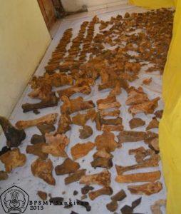Fragmen-fragmen fosil yang telah ditemukan disimpan sementara di dalam rumah warga