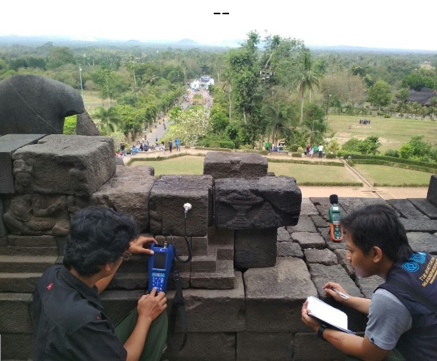 Pengukuran intensitas suara dan getaran di Pagar Langkan Lorong 2 Timur Candi Borobudur pada acara Yamaha Maxi Day