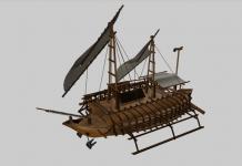 Visualisasi 3D Kapal Bercadik Jataka-Avadana Seri I b 86