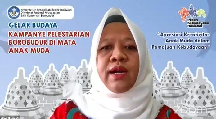 Kepala Balai Konservasi Borobudur, Wiwit Kasiyati memberikan kata sambutan