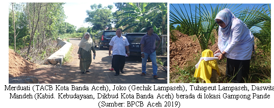 Read more about the article Kabid. Kebudayaan bersama TACB Kota Banda Aceh meninjau lokasi di duga cagar budaya yang dilaporkan warga