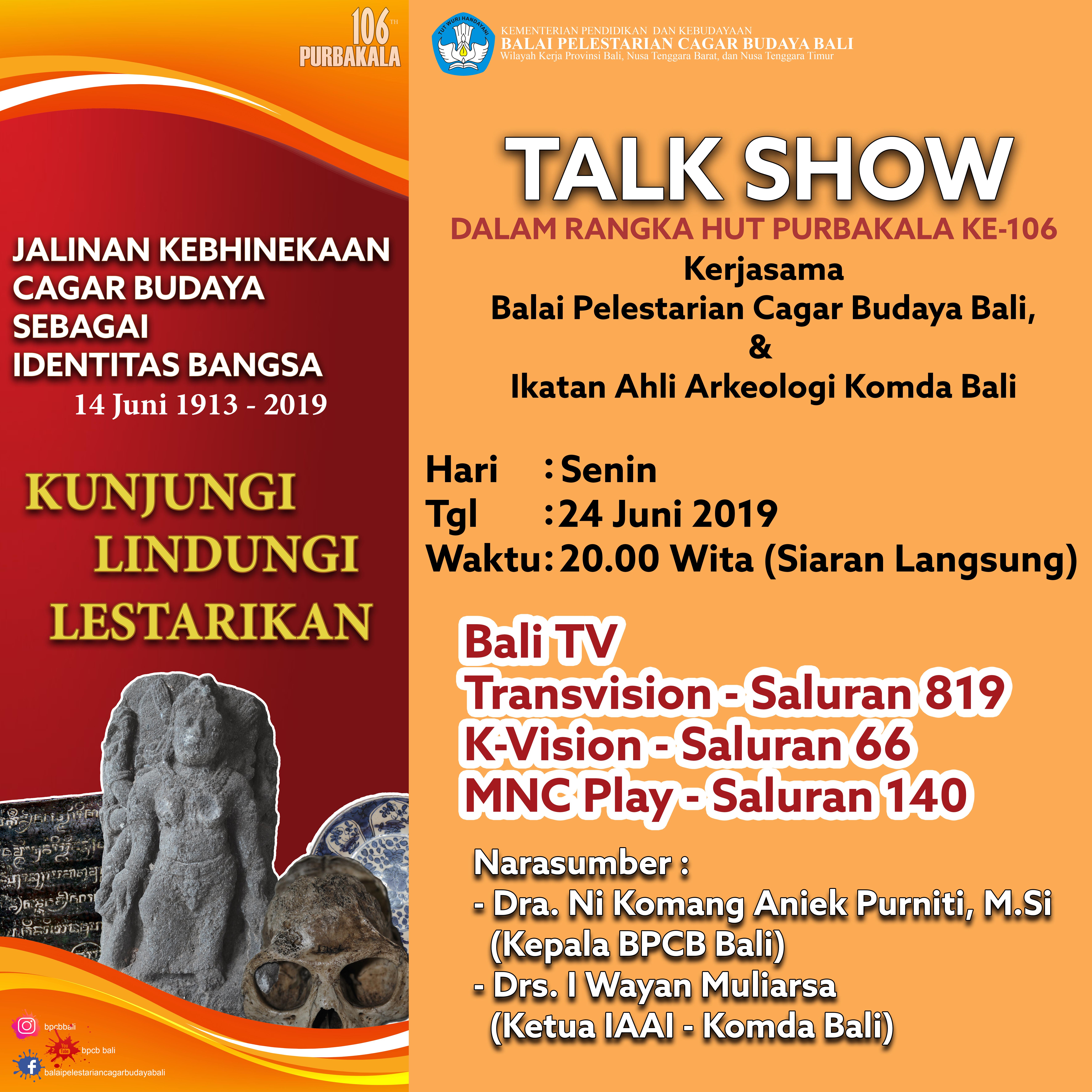 Read more about the article Talkshow dalam peringatan Hari HUT Purbakala ke-106 di Bali TV
