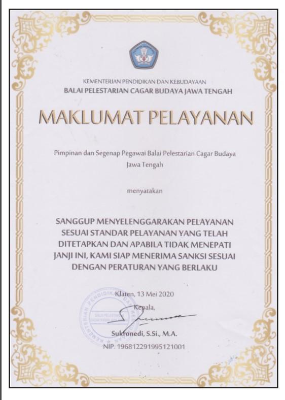 Maklumat Pelayanan Balai Pelestarian Cagar Budaya Jawa Tengah