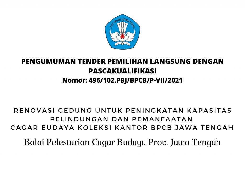 PENGUMUMAN TENDER PEMILIHAN LANGSUNG DENGAN PASCAKUALIFIKASI Nomor 308102.PBJBPCBP-IV2021 (1)