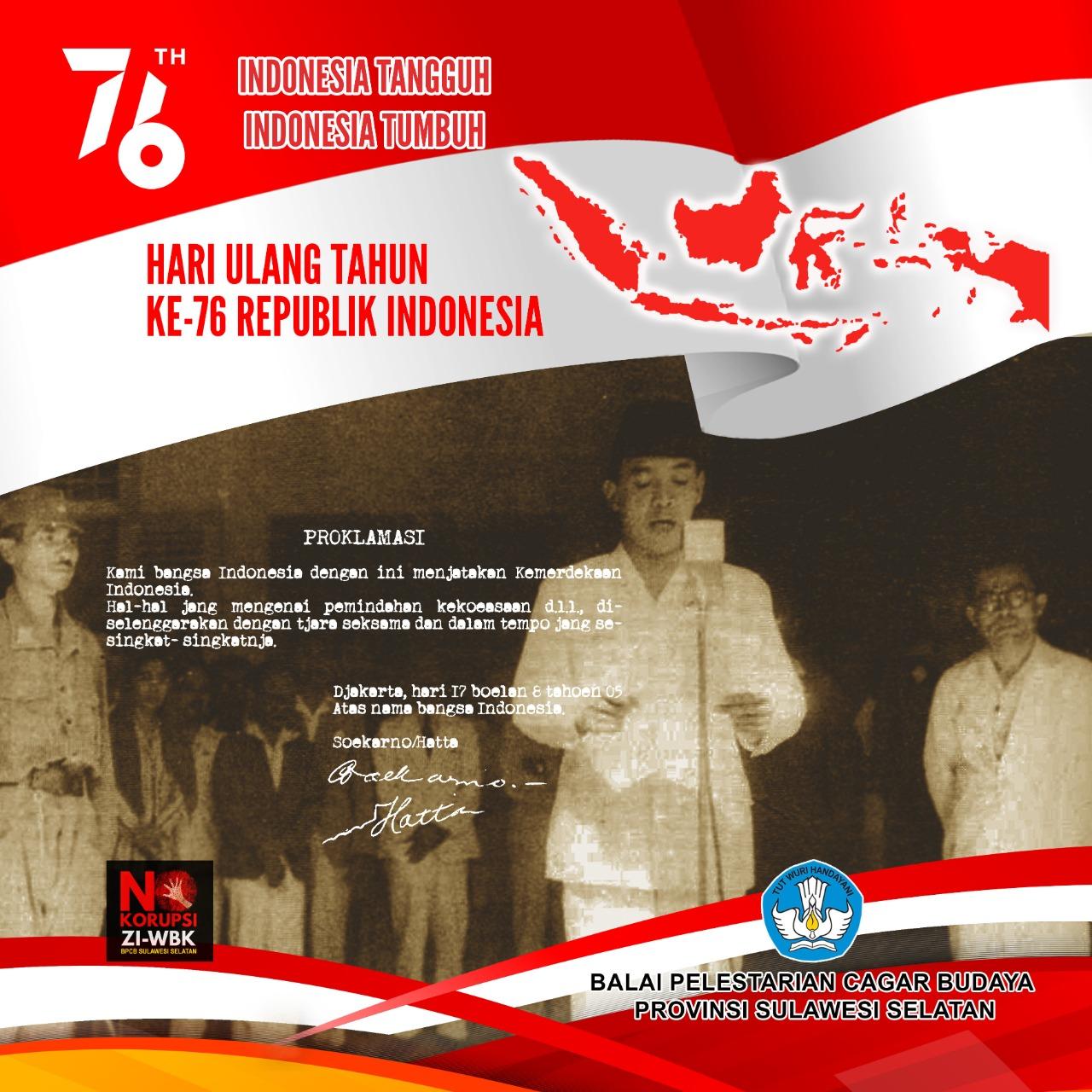 Read more about the article Balai Pelestarian Cagar Budaya Provinsi Sulawesi Selatan melaksanakan upacara virtual dalam rangka Hari Kemerdekaan Republik Indonesia ke- 76