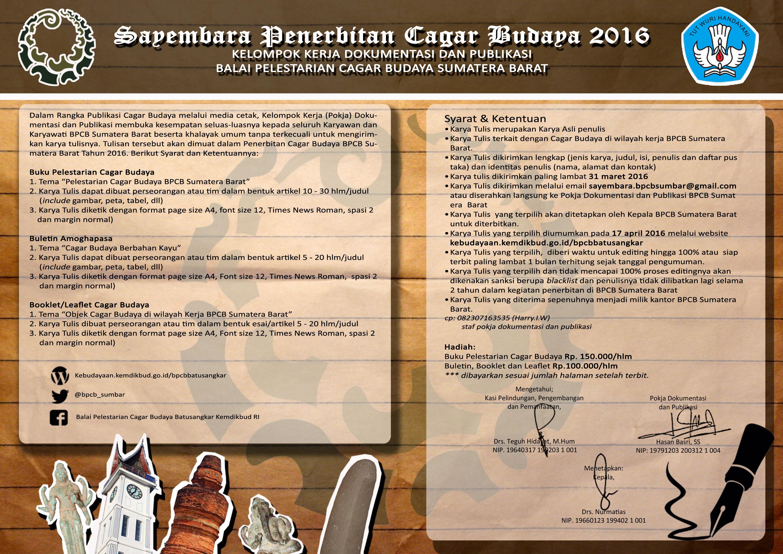 Read more about the article Sayembara Penerbitan Cagar Budaya 2016 BPCB Sumatera Barat