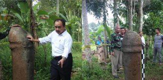 Kegiatan penjajakan temuan batu tagak di Puun, Jorong Balai Tabuah, Nagari Tanjung Sungayang Kabupaten Tanah Datar Sumatera Barat pada tahun 2017
