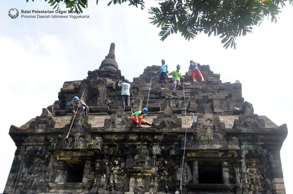 Juru pelihara dari Balai Pelestarian Cagar Budaya Provinsi Daerah Istimewa Yogyakarta membersihkan bagian atap Candi Sari (Foto: Dok. BPCB DIY 2021)