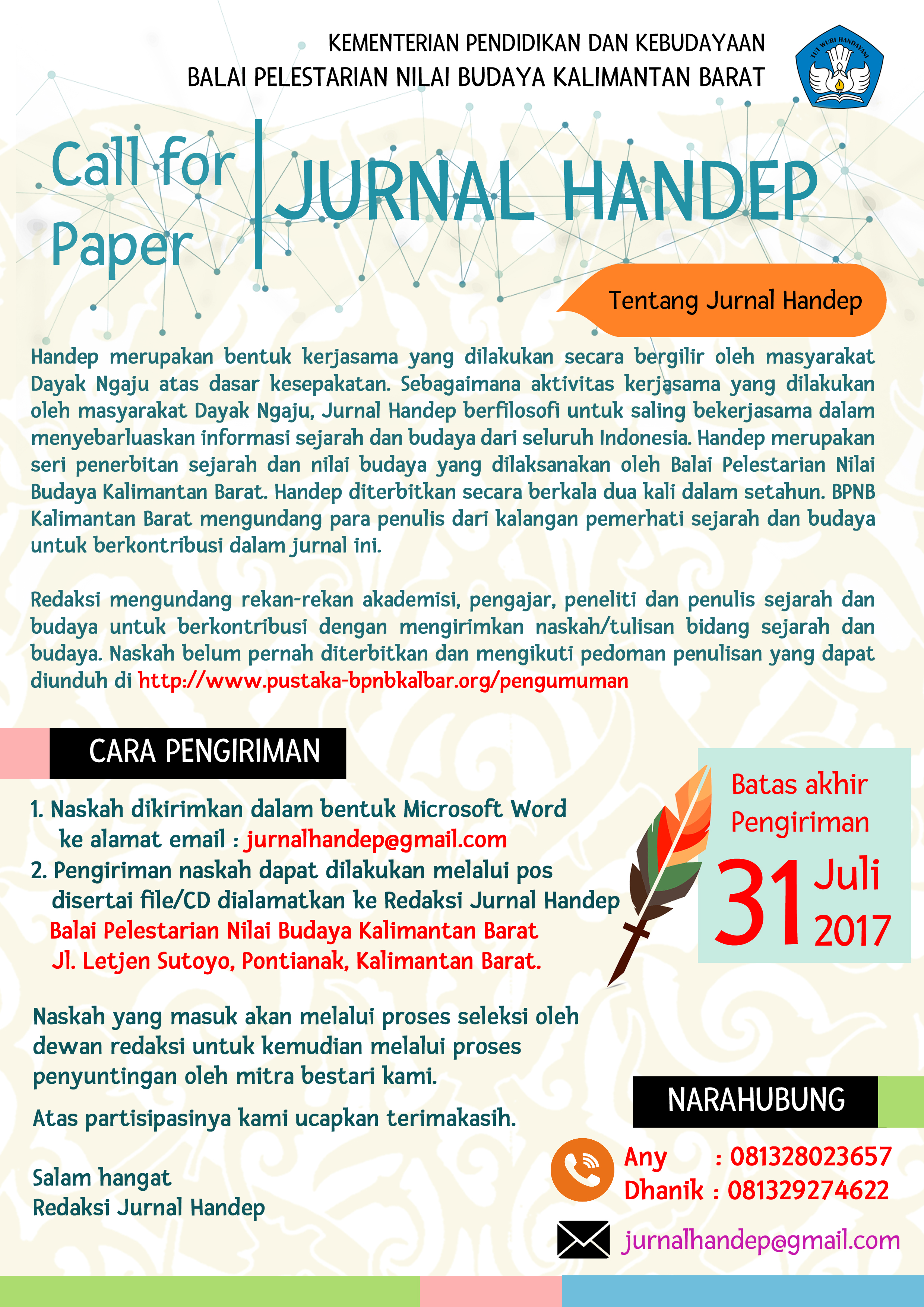 Read more about the article Call of Paper: Jurnal Handep BPNB Kalbar