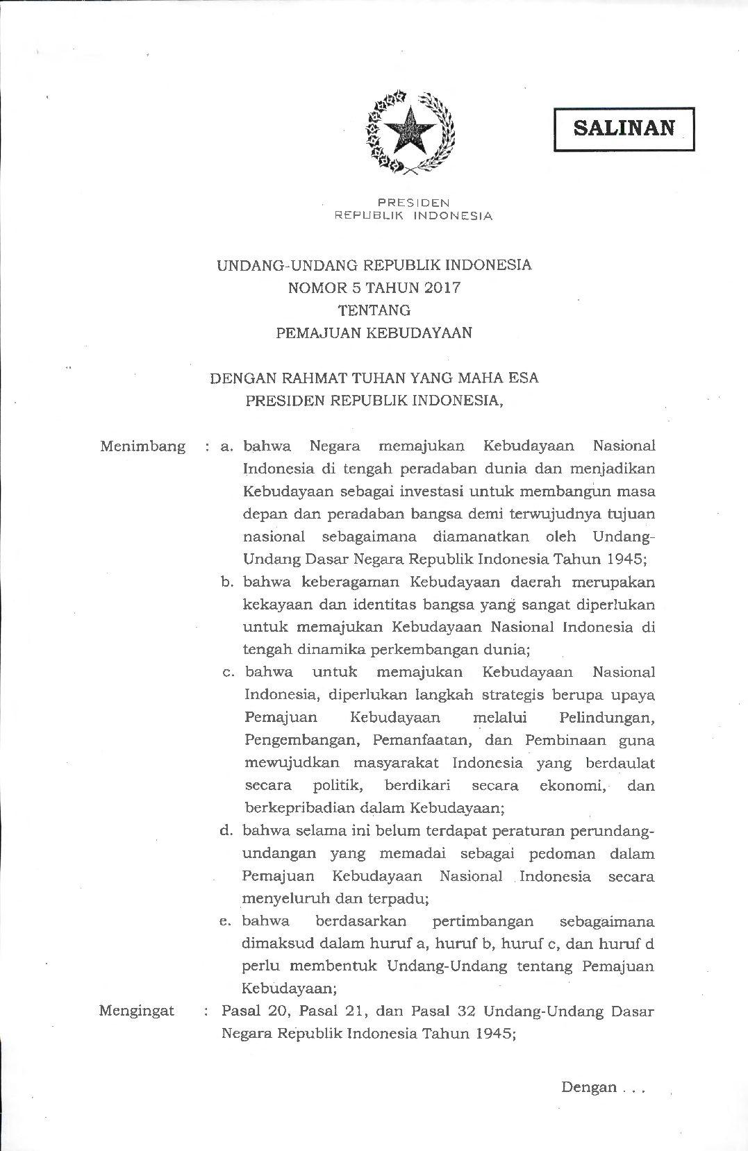 Read more about the article UU Pemajuan Kebudayaan RI Nomor 5 Tahun 2017