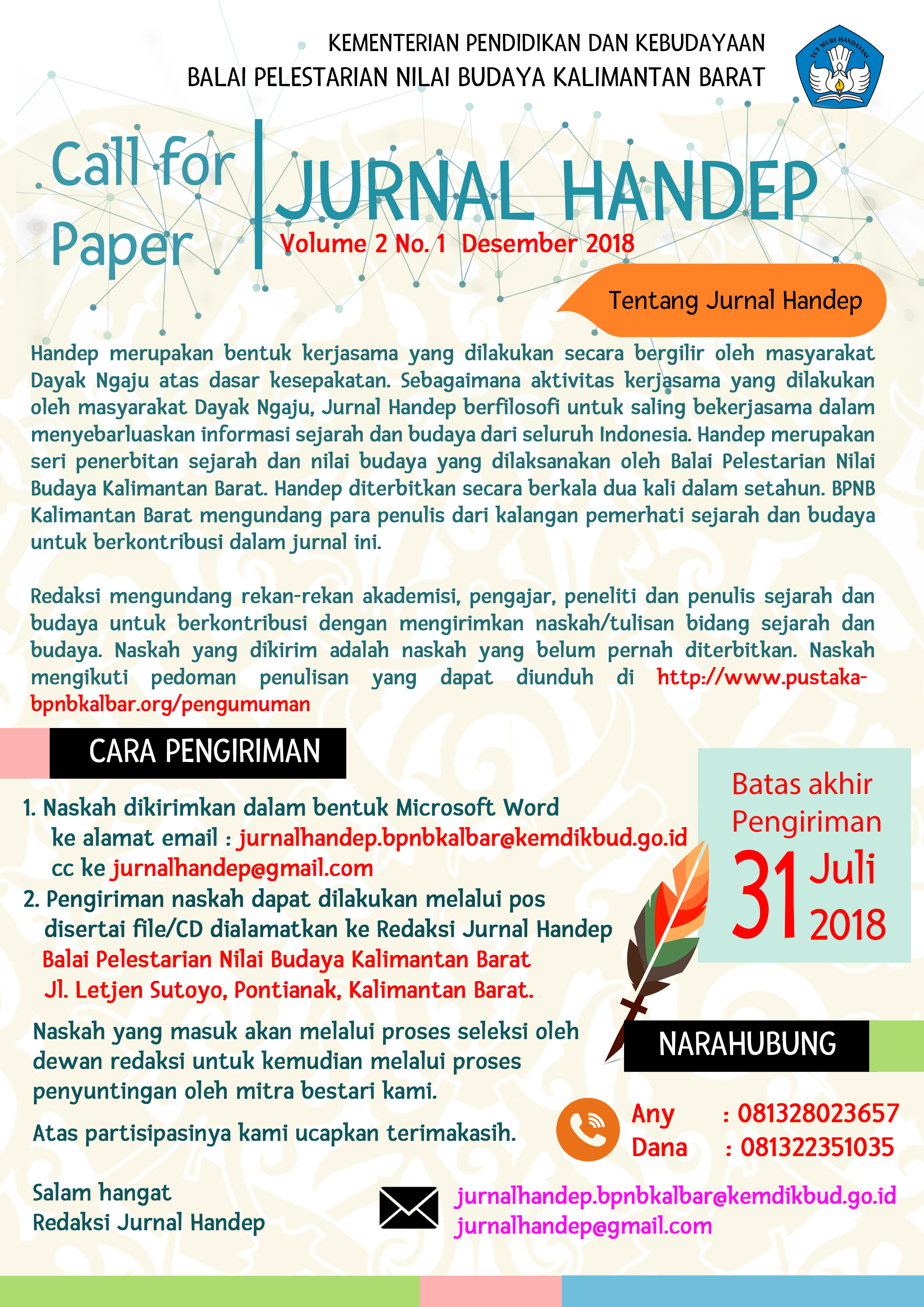 Read more about the article Call of Paper 'Jurnal Handep' BPNB Kalbar
