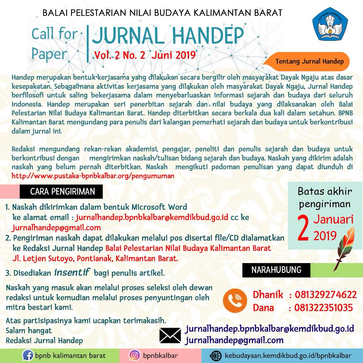 Read more about the article Call For Paper Jurnal Handep Vol. 2 No. 2, Juni 2019