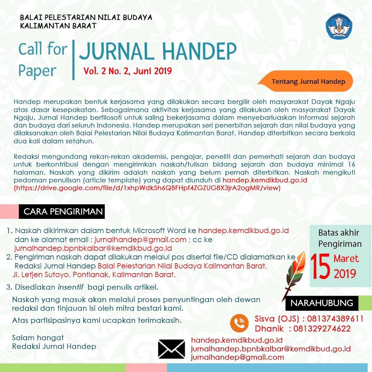 Read more about the article Pengiriman Naskah untuk Jurnal Handep Vol.2 No.2, Juni 2019