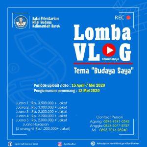 "Read more about the article Balai Pelestarian Nilai Budaya Kalimantan Barat Gelar Lomba Vlog #dirumahaja"""