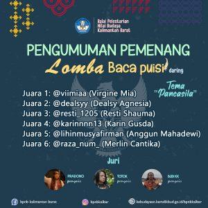 "Read more about the article Pemenang Lomba Baca Puisi Daring ""Pancasila"""