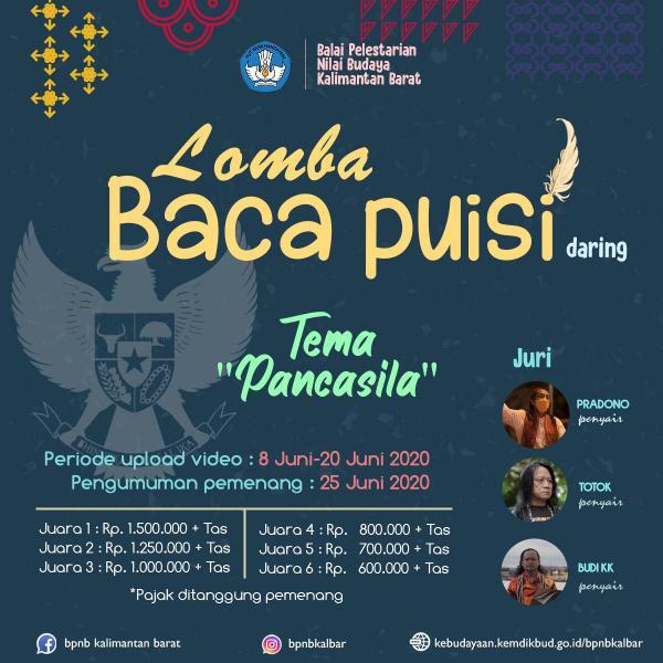 Read more about the article Hari Lahir Pancasila : BPNB Kalimantan Barat Mengadakan Lomba Baca Puisi Secara Daring