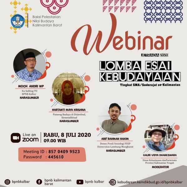 Read more about the article Webinar Lomba Esai Kebudayaan Kegiatan Jetrada 2020