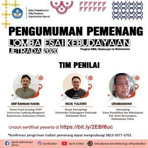 Read more about the article Pengumuman Pemenang Lomba Esai Kebudayaan se Kalimantan