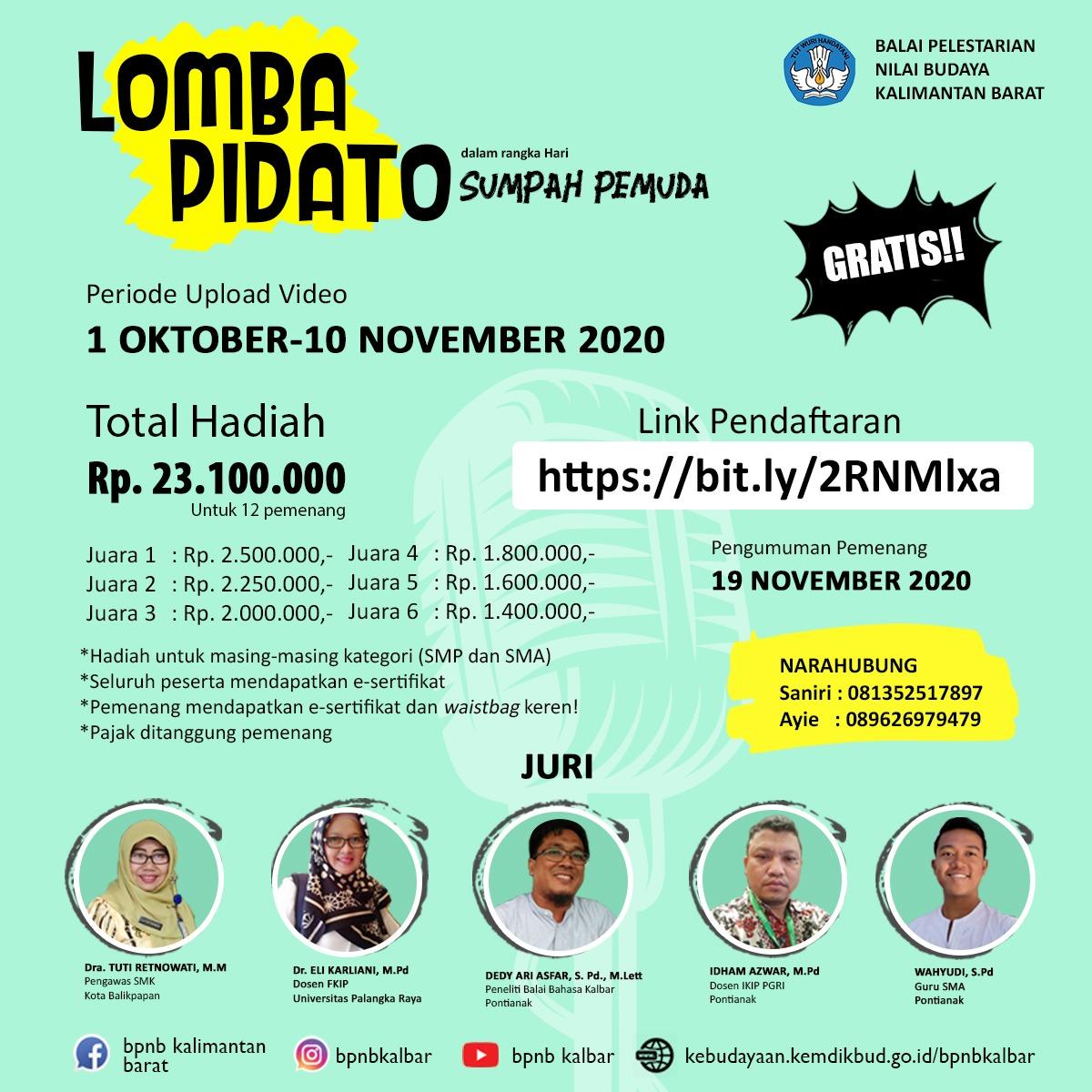 "Read more about the article Peringati Hari Sumpah Pemuda:  BPNB Kalbar Gelar Lomba Pidato Bertajuk ""Makna Sumpah Pemuda Bagi Generasi Millenial"""