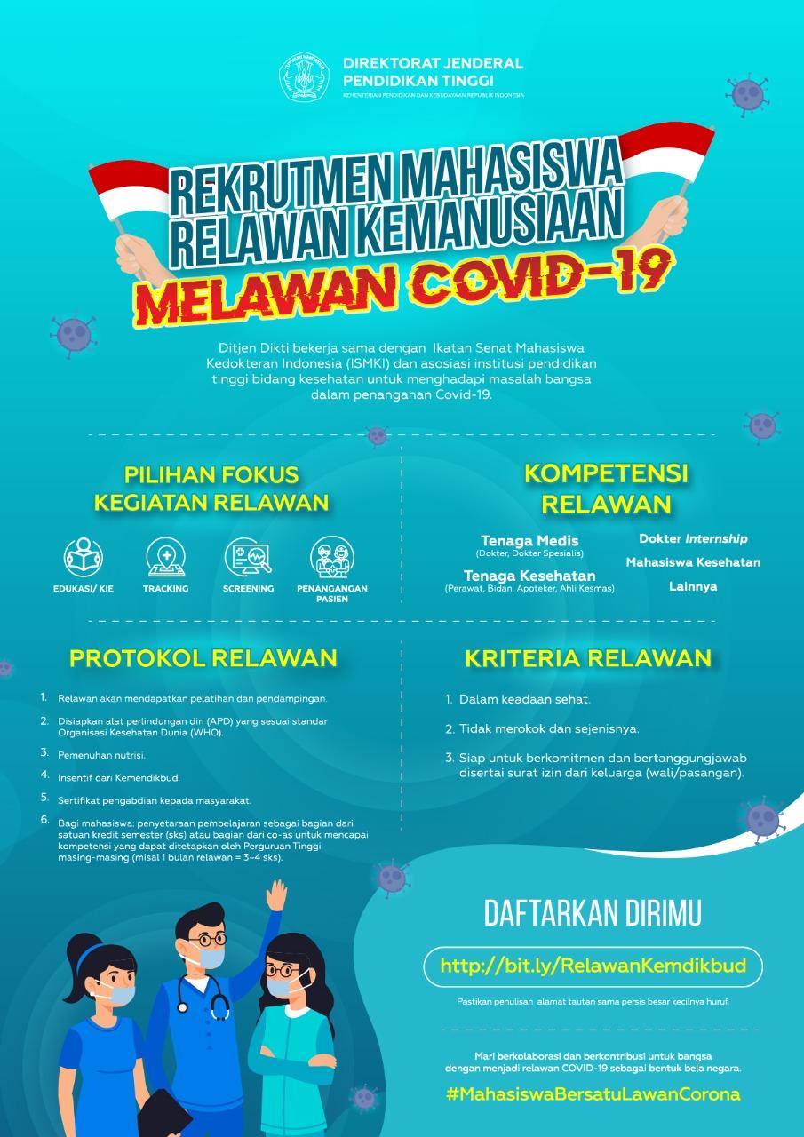 Read more about the article Kemendikbud Mengundang Mahasiswa Tingkat Akhir Bidang Kesehatan Jadi Relawan Cegah Sebaran Covid-19
