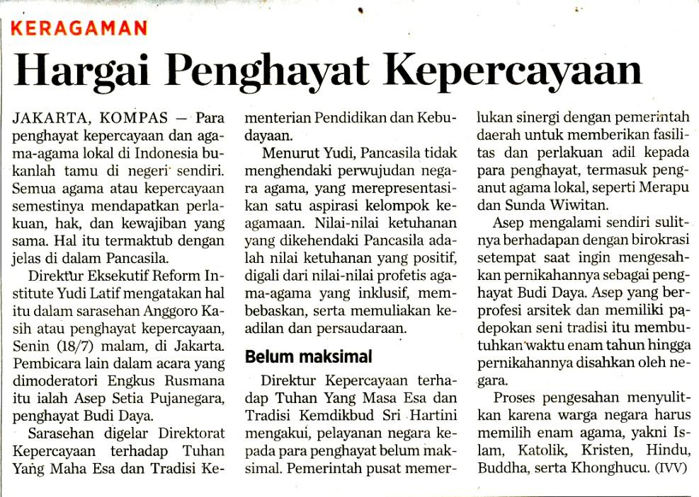 Kliping HARGAI PENGHAYAT KEPERCAYAAN  sc 1 th 189 & Kliping HARGAI PENGHAYAT KEPERCAYAAN - Direktorat Kepercayaan ...