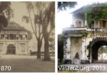 Perbandingan Tampak Depan Benteng Vastenburg, 1870 dan 2013. Sumber: digitalcollections.universiteitleiden.nl