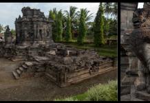 Candi Ngawen I dan II (kiri) dan Arca Singa Candi Ngawen (kanan).