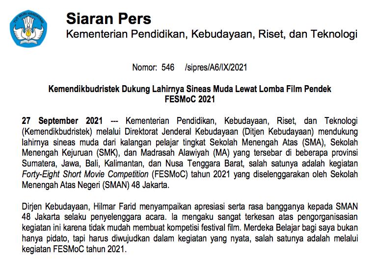 Kemendikbudristek Dukung Lahirnya Sineas Muda Lewat Lomba Film Pendek FESMoC 2021