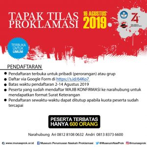 Read more about the article TAPAK TILAS PROKLAMASI 2019