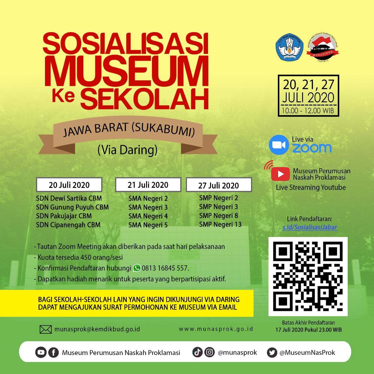 "Read more about the article [INFO MUNASPROK : Pendaftaran Peserta ""Sosialisasi Sekolah di Jawa Barat (Sukabumi)]"