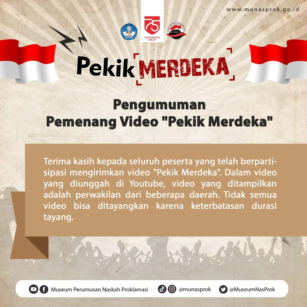 Read more about the article [INFO MUNASPROK : Pengumuman Video Pekik Merdeka]