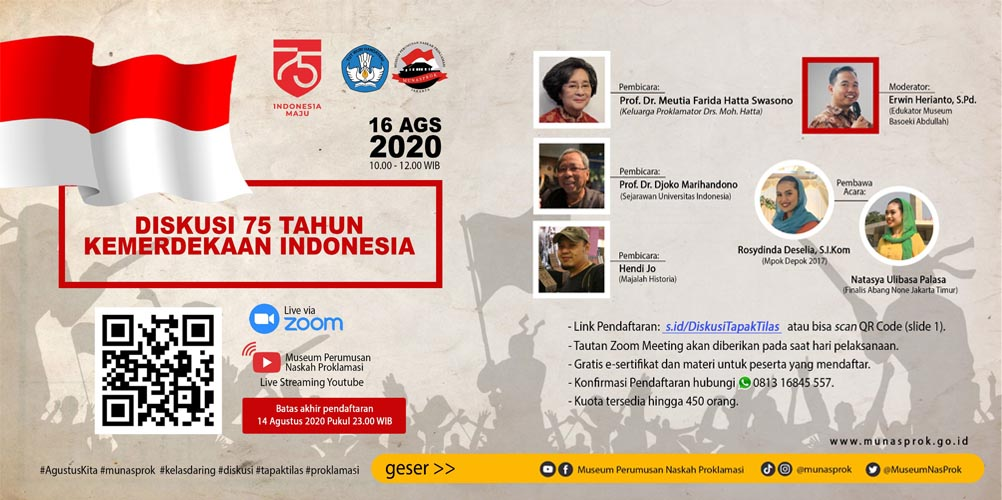 "Read more about the article [INFO MUNASPROK : Pendaftaran Peserta ""Diskusi 75 Tahun Kemerdekaan Indonesia""]"