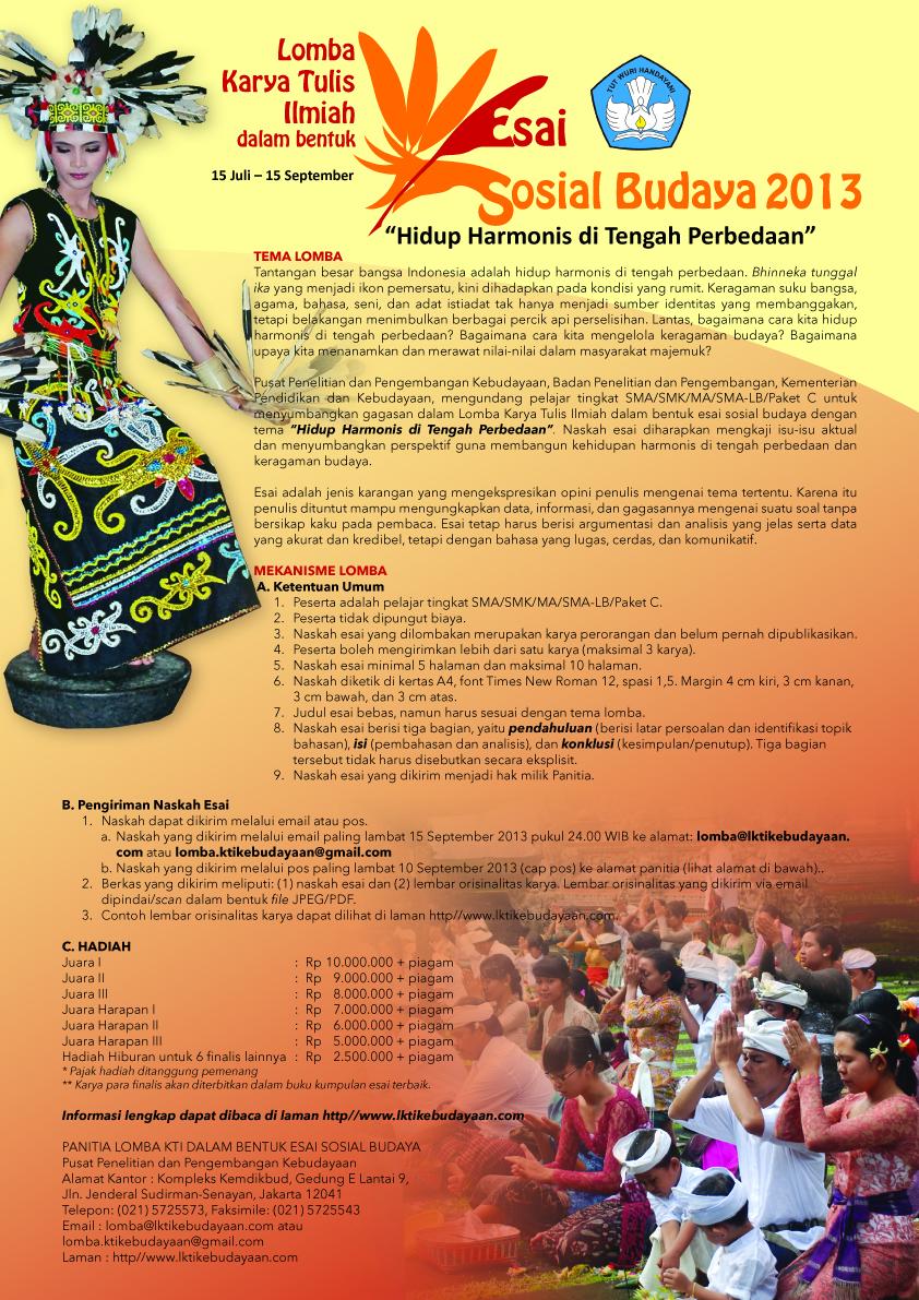 Lomba Menulis Esai Sosial Budaya 2013 Direktorat Jendral Kebudayaan