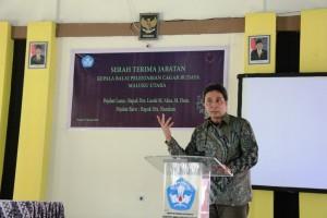 Pak Hilmar sambutan di acara Sertijab Kepala BPCB Maluku Utara