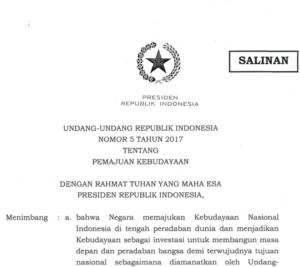 Read more about the article [Salinan] UU Pemajuan Kebudayaan RI Nomor 5 Tahun 2017
